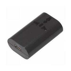 ヤザワ HPM4BK 海外用マルチ変換プラグ(USB1ポート/ブラック)