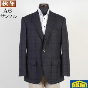 A6 テーラード ジャケット メンズシングル段返り3釦 ウール100% 濃紺チェック 7000 SJ8011|y-souko