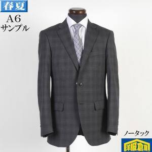 A6 ANGELICO アンジェリコノータック スリム ビジネス スーツ メンズ毛100% チャコールグレー ウィンドペン  16000 SS7021 y-souko