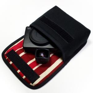 カメラケース デジカメ リコーGR3ケース--外部ファインダー用(ブラック・ボルドーストライプ)--...