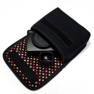 カメラケース デジカメ リコーGR3ケース--外部ファインダー用(ブラック・カラフルドット)--su...