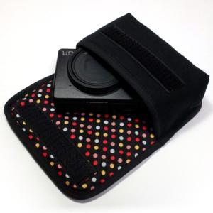 カメラケース デジカメ リコーGR3 ケース --ベルトループ付(ブラック・カラフルドット)