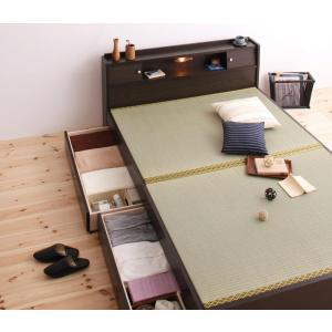 畳ベッド 畳ベット 収納 ダブルサイズ  畳 照明 棚付き畳収納ベッド 引き出し付き 畳収納ベット タタミ たたみ 和風  シンプル|y-syo-ei