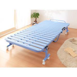 折りたたみベッド 抗菌 すのこベッド 完成品 すのこ スノコ スノコベッド スノコベット 折りたたみベット 折り畳み キャスター付き|y-syo-ei