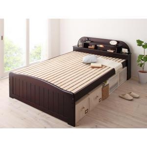 照明 宮棚 コンセント付き すのこベッド ダブル 天然木 スノコベッド すのこベット スノコベット カビ防止 ダークブラウン|y-syo-ei