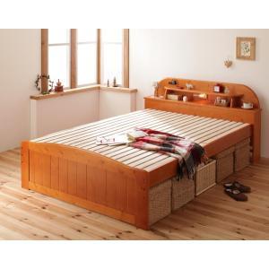天然木すのこベッド ダブル スノコベッド 照明 宮棚 コンセント付き ダークブラウン|y-syo-ei