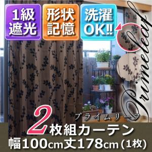 1級遮光・形状記憶カーテン2枚組 プライムリーフ 幅100丈178 ブラウン|y-syo-ei