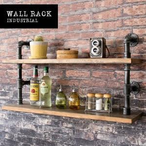 ウォールラック 2段 ヴィンテージ加工 壁掛け 壁面 壁付け シェルフ 棚 飾り棚 壁 シェルフ 壁面ラック キッチン収納 キッチン家具|y-syo-ei