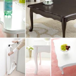 折れ脚式猫脚テーブル Lisana〔リサナ〕 75×75cm テーブル ローテーブル 姫系 家具|y-syo-ei|02