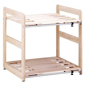 伸縮桐すのこ押入れ布団棚2段 ラック クローゼット 収納棚 整理棚 布団棚 布団収納ラック おしゃれ シンプル|y-syo-ei