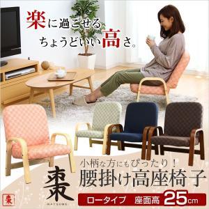 座椅子 高座椅子 椅子 座イス ロータイプ 25cm高 リクライニング 腰掛けしやすい肘掛け付き高座椅子 父の日 母の日 コンパクト プレゼント|y-syo-ei