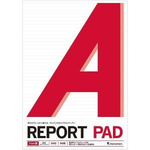 レポートパッド 滑らか 書きやすい A4  メモリ入 7mm罫 P140A ノート マルマン 文具 ...