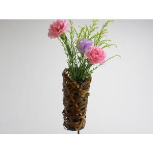 花器 まゆかご 8cm 竹かご 掛かご 花入 花瓶 篭 竹を編んだ花かご 竹皮の風情 花が引き立つ 茶室 床の間 仏間 玄関 棚 壁掛け 贈り物 楽天店より15%OFF y-takei