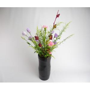 花器 寸筒 投入 塗 14cm 竹の節を生かした花入 シック ブラック 花が引き立つ 茶室 床の間 仏間 玄関 棚 テーブル 本棚 花瓶 生花 プレゼント 楽天店より15%OFF y-takei