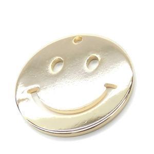 チャームパーツ 2個入 Gold Smile 15mm スマイル ニコちゃんパーツ にこちゃんチャーム 金属パーツ 上質鍍金 K16GPゴールド|ya-partsland