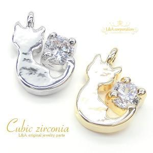 チャームパーツ 2個入 Cubic cat 猫 ネコ ねこ キュービックジルコニア  Cubic zirconia クリスタル レディース L&A|ya-partsland