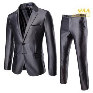スーツ メンズ 結婚式 2ピーススーツ セットアップ 光沢 ブレストスーツ スリム ビジネススーツ 2ツボタン 卒業式|yaa
