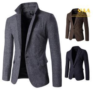 ビジネススーツ シングル 1つボタン スーツジャケット テーラードジャケット ビジネスジャケット ツイード調 細身 秋服 秋物|yaa