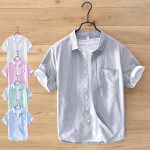 半袖シャツ メンズ 綿麻 リネンシャツ カジュアルシャツ 白シャツ 開襟シャツ 涼しい 通気 夏 夏物|yaa