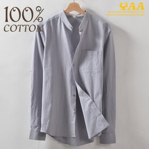 シャツ メンズ 100%コットン カジュアルシャツ トップス スタンドカラー ビジネス 通勤 長袖シャツ 無地 おしゃれ|yaa