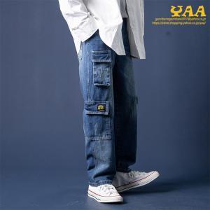ワイドパンツ メンズ デニム カーゴパンツ ジーンズ バギーパンツ デニムカーゴパンツ 紐付き ウォッシュ ヴィンテージ ロング丈|yaa
