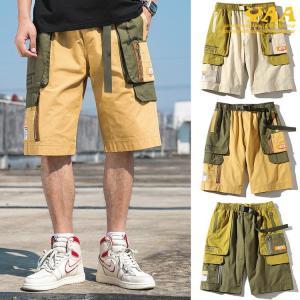 カーゴパンツ 短パン メンズ ミリタリーファッション ワークパンツ ハーフパンツ ショートカーゴパンツ 100%コットン ストリート系|yaa