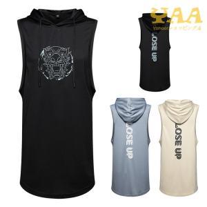 ノースリーブパーカー メンズ レディース スポーツ Tシャツ 夏パーカー カッコいい ゆったり 夏|yaa