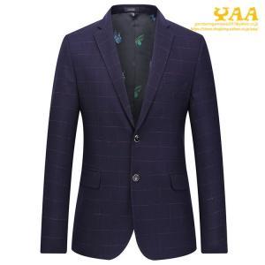 テーラードジャケット メンズ チェック ビジネスジャケット 秋 ジャケット 2ツボタン スーツジャケット スリム カジュアル 通勤|yaa