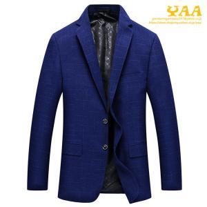 スーツジャケット メンズ ネイビー ジャケット テーラードジャケット ビジネスジャケット 2ツボタン チェック柄 カジュアル 通勤 細身|yaa