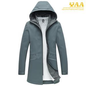 ロングジャケット メンズ マウンテンパーカー スプリングコート フード付き ロング丈 ジャケット アウター アウトドア 秋 防風 撥水|yaa