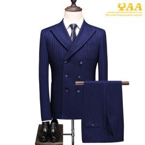 ダブルスーツ 紳士 3ピーススーツ 6つボタン スリーピース スリーピー ビジネススーツ ストライプ...