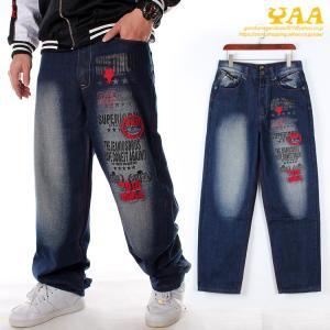 デニムバギーパンツ メンズ ワイドパンツ ジーンズ デニムパンツ ロング丈 ボトムス 大きいサイズ 刺繍 アメカジ ストリート yaa
