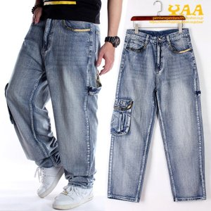 デニムカーゴパンツ メンズ ジーンズ バギーパンツ ワイドパンツ カーゴパンツ デニム パンツ ウォッシュ ストリート yaa