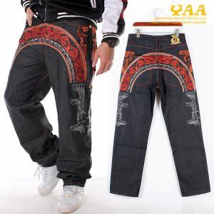 デニムパンツ メンズ 刺繍 ジーンズ バギーパンツ ワイドパンツ ボトムス ロング丈 大きいサイズ きれいめ ヒップホップ ストリート yaa
