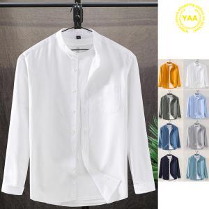 バンドカラーシャツ メンズ 長袖 シャツ カジュアルシャツ トップス 無地 スタンドカラー ビジネスカジュアル 40代 50代 60代|yaa