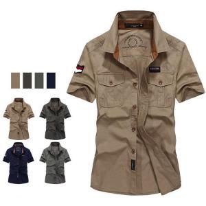 ミリタリーシャツ メンズ 半袖シャツ ワークシャツ シャツ カジュアルシャツ 綿100% アウトドア...