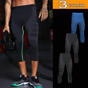メンズ コンプレッションウェア スポーツタイツ レギンス フィットネス ランニング トレーニング 7分丈 加圧 吸汗速乾 ポイント消化 YAA 2020|yaa