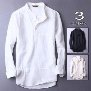 プルオーバー シャツ メンズ リネンシャツ 白シャツ カジュアルシャツ 開襟シャツ ナチュラルシャツ 綿 麻 トップス YAA 2020|yaa