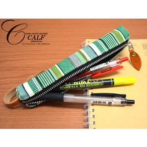 CALF カーフ 倉敷帆布 バトンペンケース forest フォレスト Sサイズ ストライプ ストラップ付き おしゃれ かわいい 筆箱 ネコポス 送料無料|yabumoto