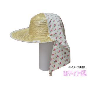 麦わら 帽子 日よけ 柄おまかせ 和柄 日本製 農作業 ガーデニング 麦さわやか ホワイト系 No.130|yabumoto