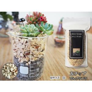 瓦チップ びんご テコラ Mサイズ 白 600g 観葉植物 プランター カバー材 かわいい リサイクル|yabumoto