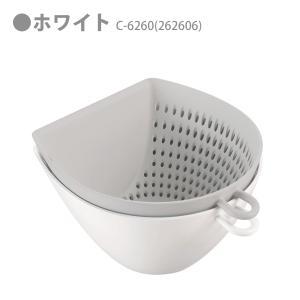 チリトリ ザル ボウル 2点セット パール金属 / 日本製 ホワイト レッド ブルー 電子レンジ可 食洗機可 計量 目盛り付き フック付き /|yacom-tokyo|02