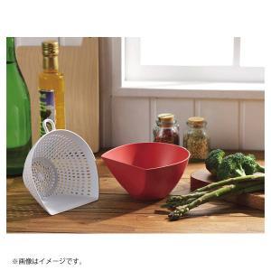 チリトリ ザル ボウル 2点セット パール金属 / 日本製 ホワイト レッド ブルー 電子レンジ可 食洗機可 計量 目盛り付き フック付き /|yacom-tokyo|11