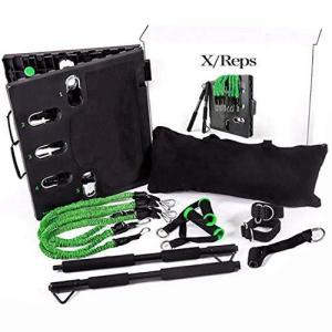 X/Reps 筋トレ home gym トレーニングチューブ器具 4本のバンドで幅広い強度&40種目...