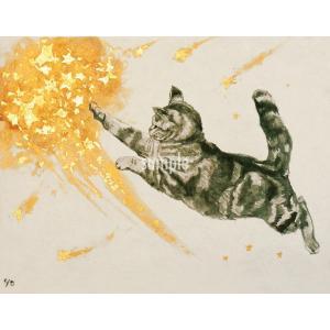 アートパネルF0「流れ星」★岩堀葉 猫画 リビング インテリア 3000円以上送料無料|yadotoneko