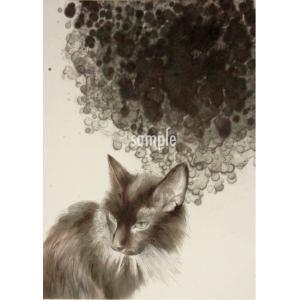 アートパネルB5「見つめる」★岩堀葉 猫画 リビング インテリア 3000円以上送料無料|yadotoneko