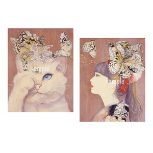 アートパネルF0×2「蝶遊び」★岩堀葉 猫画 リビング インテリア 3000円以上送料無料|yadotoneko