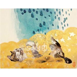アートパネルF0「眠くなる頃にA」★岩堀葉 猫画 リビング インテリア 3000円以上送料無料|yadotoneko
