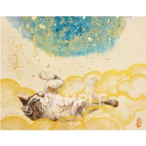 アートパネルF0「眠くなる頃にB」★岩堀葉 猫画 リビング インテリア 3000円以上送料無料|yadotoneko