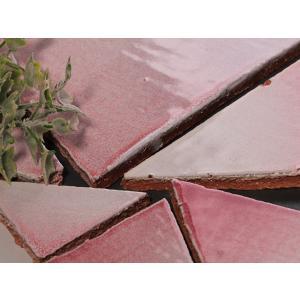 乱形美濃焼タイル ピンク R15